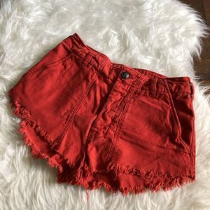 Free People 4 Red Cut Off Jean Shorts Frayed Hem